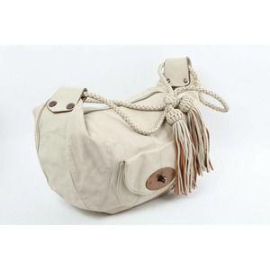 Vintage MULBERRY Araline Ivory Leather Tassels Hobo Shoulder Bag
